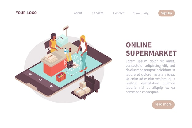 Diseño de página de destino de supermercado en línea con lugar para información de texto sobre servicios y contactos isométrica