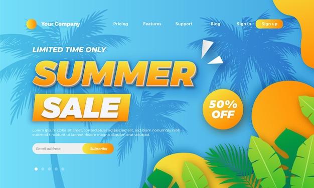 Diseño de página de destino de venta de verano degradado