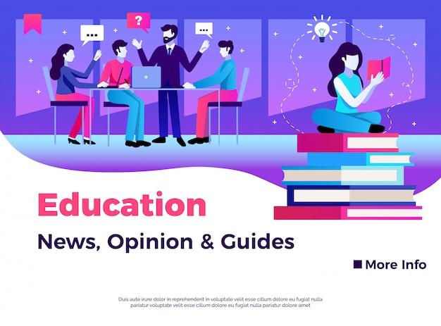 Diseño de página de educación con opinión de noticias y ilustración plana de símbolos de guías