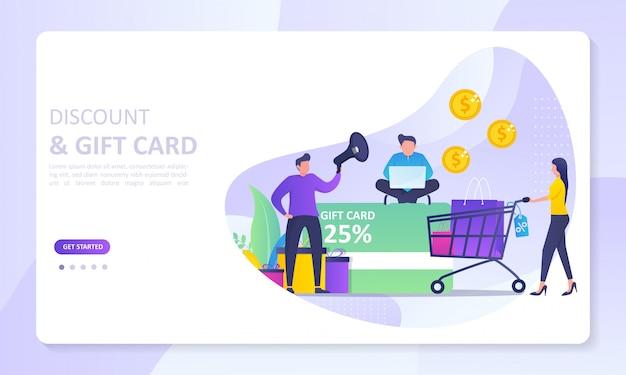 Diseño de página de inicio de banner de descuento y tarjeta de regalo