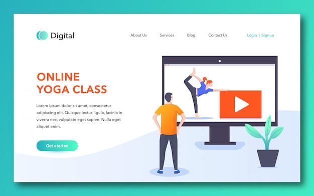 Diseño de página de inicio de clase de yoga en línea