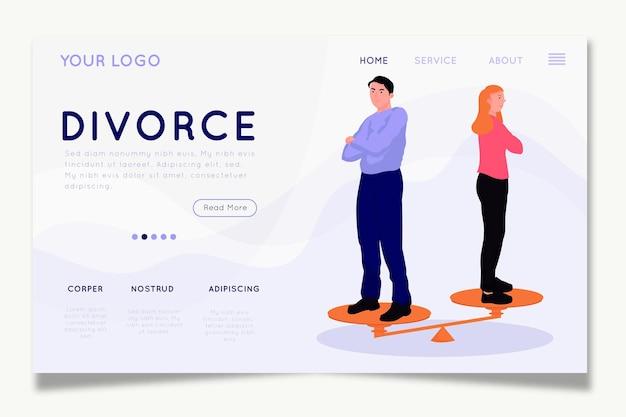 Diseño de la página de inicio del concepto de divorcio