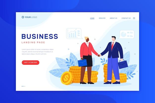 Diseño de página de inicio de negocios para plantilla