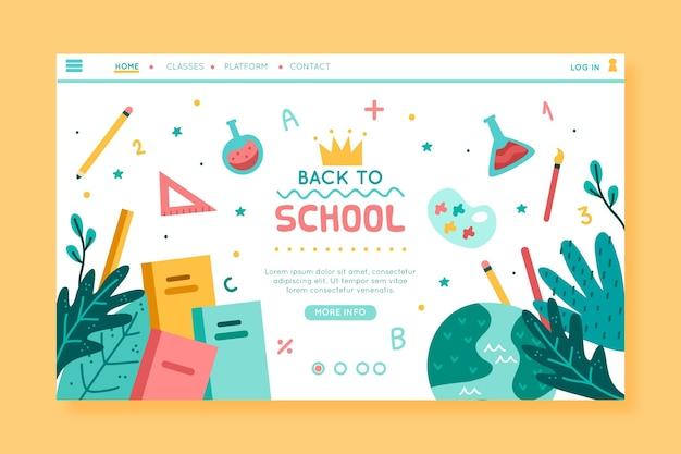 Diseño de página de inicio de regreso a la escuela