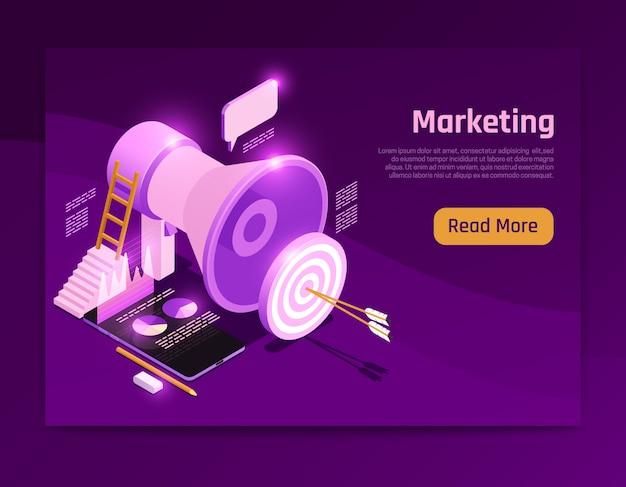 Diseño de página isométrica de estrategia empresarial con ilustración de símbolos de marketing
