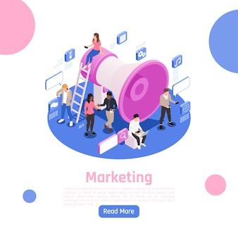 Diseño de página isométrica de gente de negocios con ilustración de símbolos de marketing