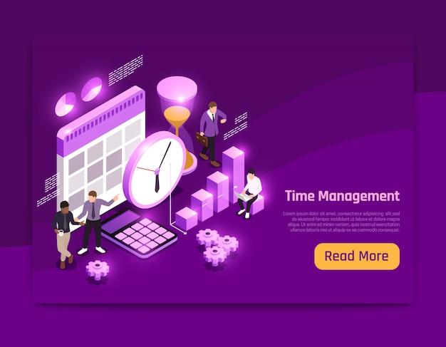 Diseño de página isométrica de negocios con ilustración de símbolos de gestión del tiempo