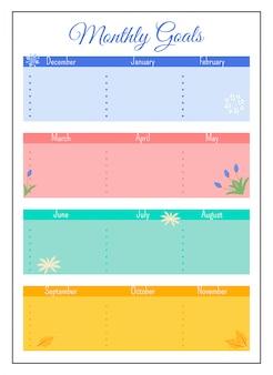 Diseño de página de planificador creativo de cuadrícula de objetivos mensuales