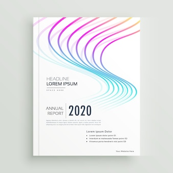 Diseño de página de portada de libro de negocios moderno con forma ondulada