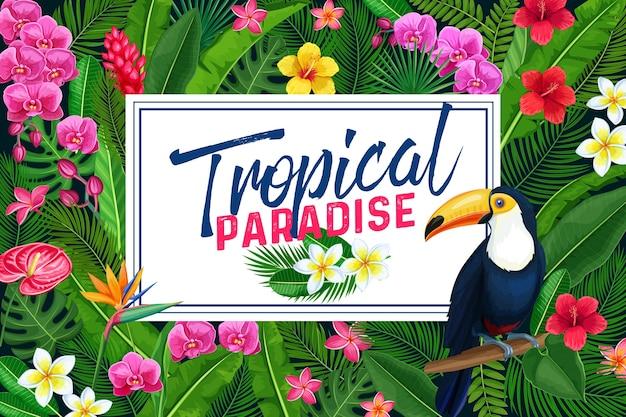 Diseño de página tropical o póster.