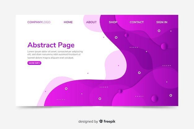 Diseño de página web de aterrizaje con diseño abstracto