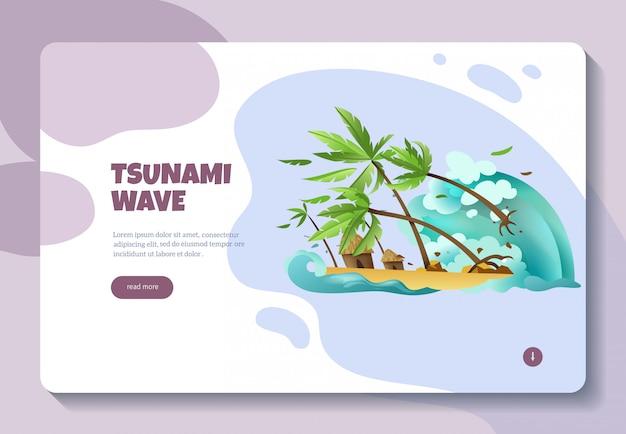 Diseño de página web de banner de concepto de información en línea de desastres naturales con ola de tsunami botón leer más