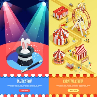 Diseño de página web de banners verticales isométricas de circo