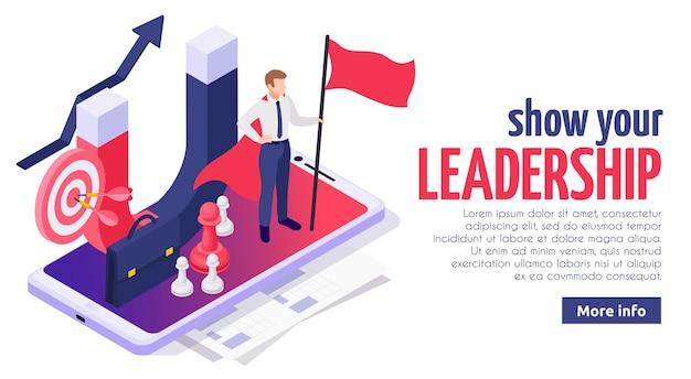 Diseño de página web isométrica de habilidades blandas de liderazgo efectivo con empresario exitoso en la pantalla del teléfono inteligente