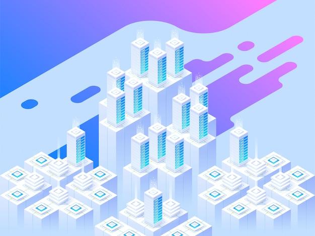 Diseño de páginas web. gran centro de datos y tecnología de almacenamiento en la nube. plantilla de ilustración isométrica para diseño y desarrollo de sitios web y sitios web móviles. concepto creativo fácil de editar y personalizar