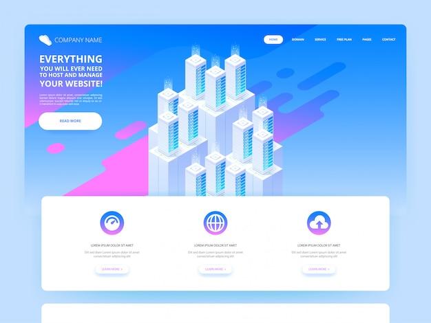 Diseño de páginas web. gran centro de datos y tecnología de almacenamiento en la nube.