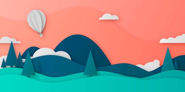 Diseño de paisaje estilo papel