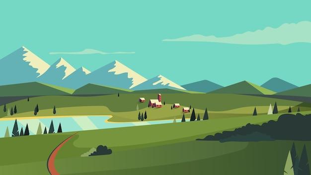 Diseño de paisaje hermoso campo