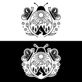 Diseño de paisaje de mariquitas y mariposas.