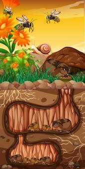 Diseño de paisaje con marmotas y abejas