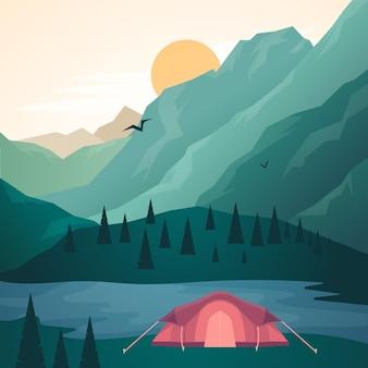 Diseño del paisaje de la zona de acampada