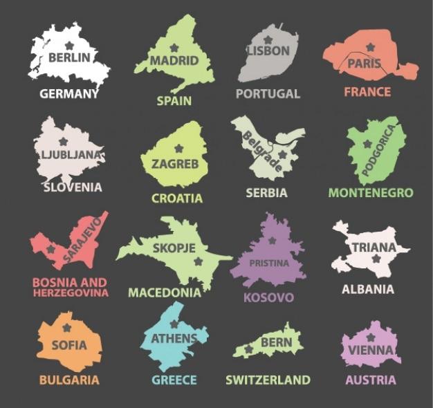Diseño de países con sus capitales