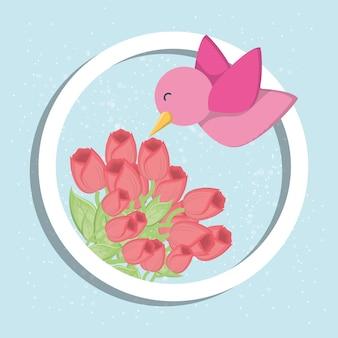 Diseño de pájaro y flores
