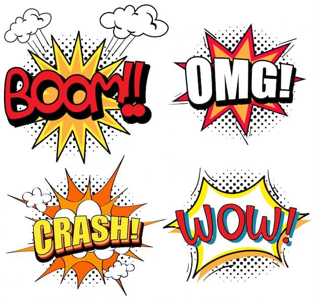 Diseño de palabras de expresión para cuatro palabras.
