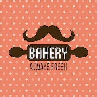 Diseño de panadería sobre fondo punteado ilustración vectorial