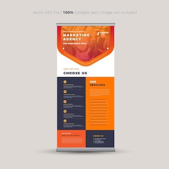 Diseño de pancarta enrollable, pancarta de pie, señalización vertical, diseño de póster de exhibición