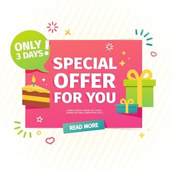 Diseño de una pancarta plana para cumpleaños oferta especial individual. una tarjeta de venta para compras en línea con una decoración de regalos y pastel.