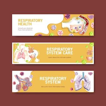Diseño de pancarta respiratoria con anatomía humana del pulmón