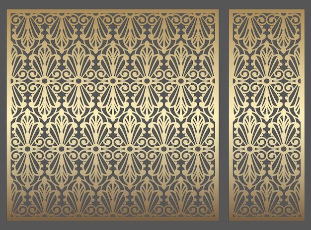 Diseño de panel de corte por láser. plantilla de borde de vector vintage repetido adornado para corte por láser, vidrieras, grabado de vidrio, arenado, talla de madera, fabricación de tarjetas, invitaciones de boda.