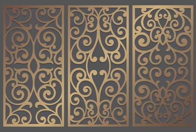 Diseño de panel de corte por láser. plantilla de borde vintage adornado para corte por láser, vidrieras, grabado de vidrio, arenado, tallado en madera, fabricación de tarjetas, invitaciones de boda.