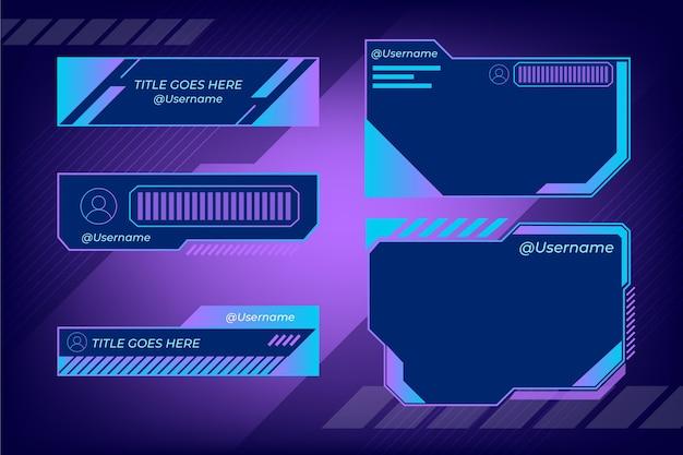 Diseño de paneles de transmisión twitch vector gratuito