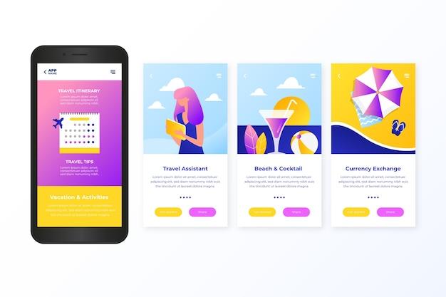 Diseño de pantalla de la aplicación de incorporación de viaje