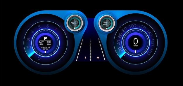 Diseño de pantalla. diseño del panel de control el sistema de frenado automático evita un accidente automovilístico.