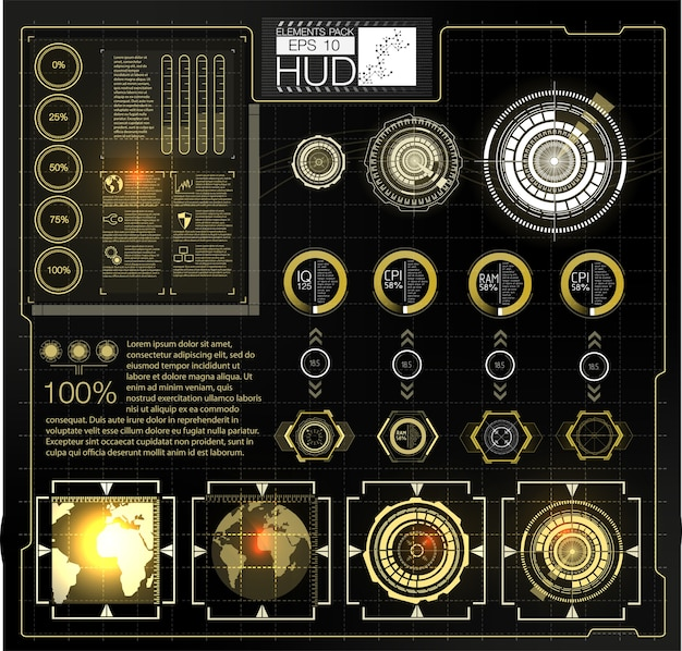 Diseño de pantalla de interfaz futurista vector hud. títulos de llamadas digitales. interfaz gráfica de usuario de hud