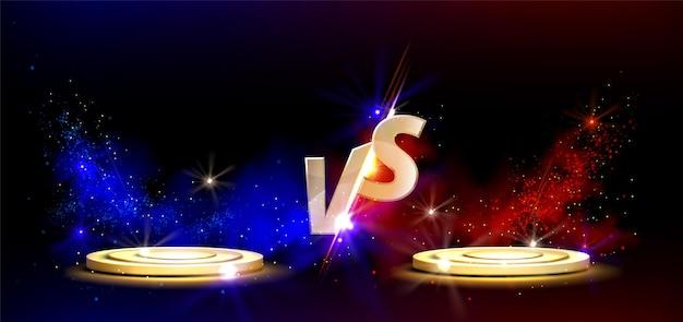 Diseño de pantalla versus con podios dorados para batallas de juegos