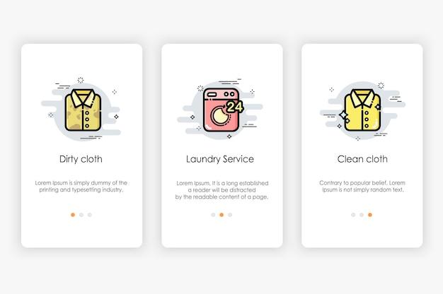 Diseño de pantallas de incorporación en concepto de lavandería y lavadora. ilustración moderna y simplificada, plantilla para aplicaciones móviles.