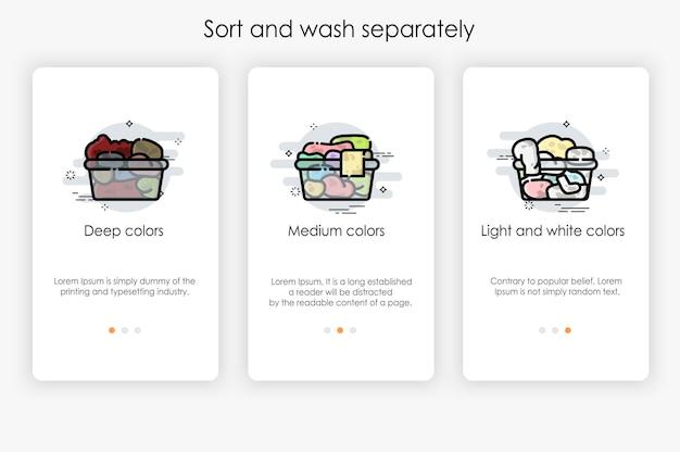 Diseño de pantallas incorporadas en concepto de ordenar y lavar por separado. ilustración moderna y simplificada, plantilla para aplicaciones móviles.