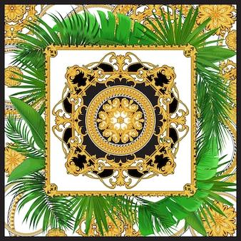 Diseño de pañuelo de seda con elementos rococó dorados y hojas de palmeras tropicales