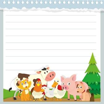 Diseño de papel con animales de granja.
