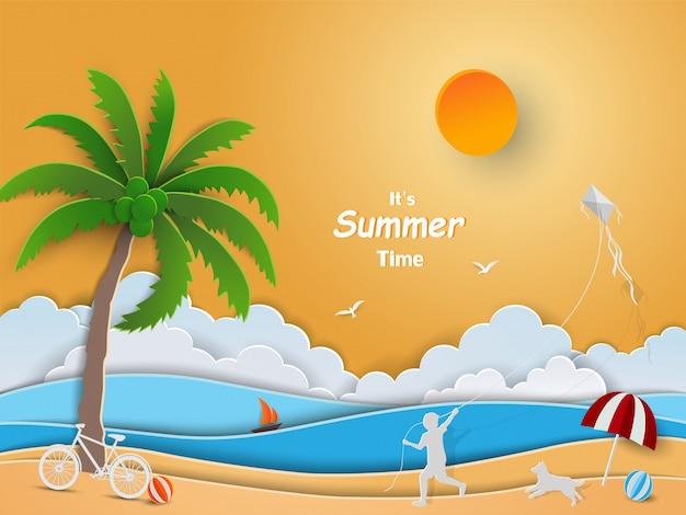 Diseño de papel arte con letras de horario de verano.