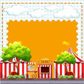Diseño de papel con carpas de circo.