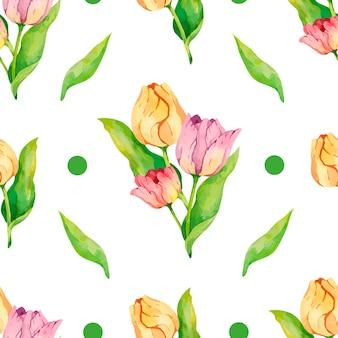 Diseño de papel digital de patrón de tulipanes de acuarela con puntos verdes