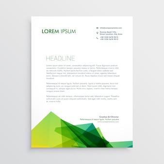 Diseño de papel con membrete de negocios verde abstracto