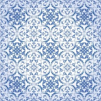 Diseño y papel pintado inconsútiles del modelo del fondo del damasco hecho de las baldosas cerámicas de la textura turca en vector