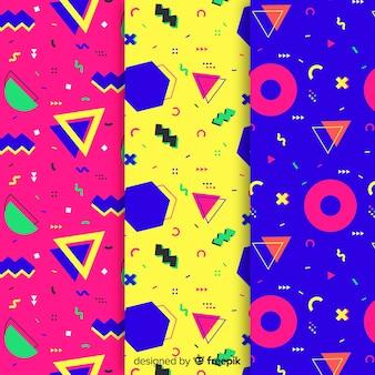 Diseño de papel tapiz con colección de patrones de memphis