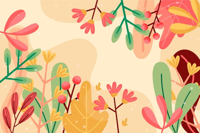 diseño de papel tapiz floral abstracto de diseño plano